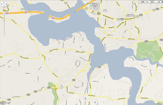 Map of Bellevue Under Water
